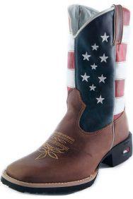 Bota Infantil Mr. West Boots com Estampa USA e Bico Quadrado