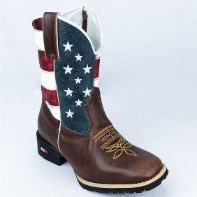 Bota Infantil Mr West com Estampa USA e Bico Quadrado