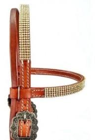 Cabeçada para Cavalo em Couro com Testeira de Strass Top Equine