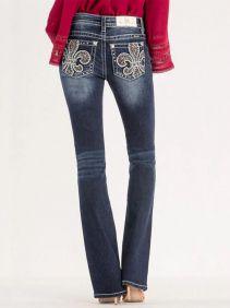 Calça Jeans Feminina Miss Me com Bordado de Flor-de-Lis