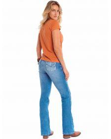 Calça Jeans Tassa Feminina Flaire Boot Cut Bordado Pedras