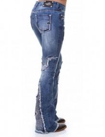 Calça Jeans Zenz Western Blend Feminina com Aplicação e Strass