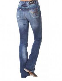 Calça Jeans Zenz Western Guepardo Feminina com Pedras e Bordado