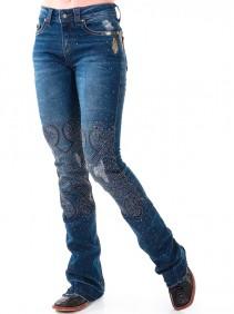 Calça Jeans Zenz Western Hippie Feminina com Pedras e Bordado