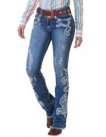 Calça Jeans Zenz Western Rhino Feminina com Aplicação e Strass