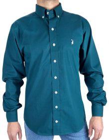 Camisa Austin Western Manga Longa Slim Fit Estampada Verde