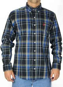 Camisa Austin Western Xadrez Manga Longa Slim Fit Azul Preto