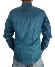 Camisa Austin Western Xadrez Manga Longa Slim Fit Azul Verde