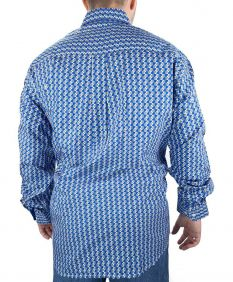 Camisa CINCH Manga Longa Estampada Azul Cinza Branco