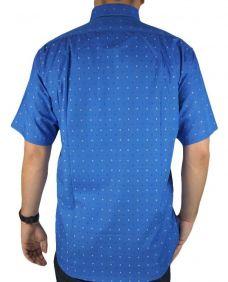 Camisa Estampada Fast Back Manga Curta Masculina Azul Branco