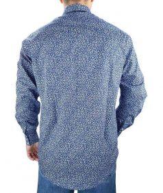 Camisa Estampada Fast Back Manga Longa Masculina Azul Branco