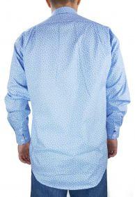 Camisa Estampada Fast Back Masculina Manga Longa Azul Claro Branco