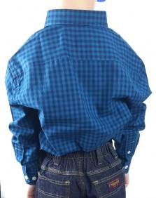 Camisa Infantil Austin Western Manga Longa Xadrez Turquesa