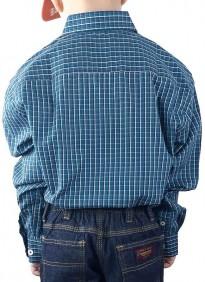 Camisa Infantil Fast Back Xadrez Azul Marinho Manga Longa