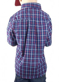 Camisa Infantil TXC Brand Manga Curta Xadrez Azul Vermelho