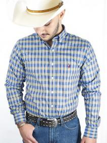 Camisa Masculin Austin Western Xadrez Amarelo Slim Exclusiva