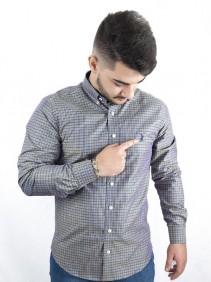 Camisa Masculina Austin Western Exclusiva Xadrez Cinza Slim