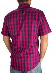 Camisa Masculina Austin Western Manga Curta Slim Xadrez Rosa