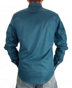 Camisa Masculina Austin Western Manga Longa Slim Azul Verde