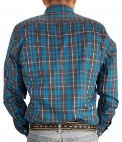 Camisa Masculina Austin Western Manga Longa Slim Preto Azul