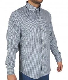 Camisa Masculina Austin Western Slim Fit Azul Escuro Branco