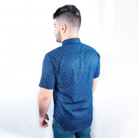 Camisa Masculina Austin Western Slim Fit Estampada Azul