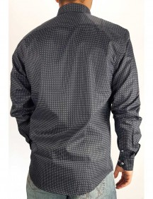 Camisa Masculina Austin Western Slim Fit Estampada Chumbo