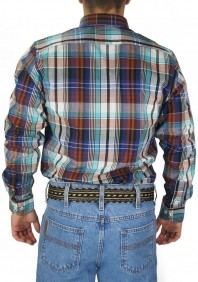 Camisa Masculina Austin Western Slim Fit Xadrez Azul Marrom
