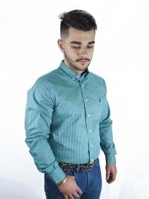 Camisa Masculina Austin Western Slim Fit Xadrez Verde Claro