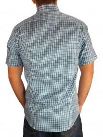 Camisa Masculina Austin Western Xadrez Azul Branco Slim Fit