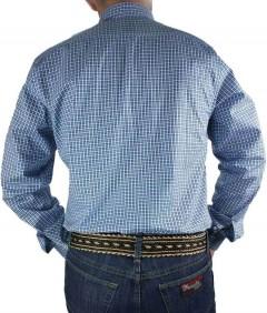 Camisa Masculina Austin Western Xadrez Azul Cinza Slim Fit