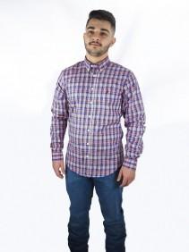 Camisa Masculina Austin Western Xadrez Salmão Slim Fit