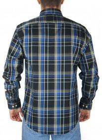 Camisa Masculina Austin Western Xadrez Slim Fit Azul Preto