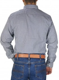 Camisa Masculina Austin Western Xadrez Slim Fit Branco Azul