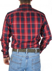 Camisa Masculina Austin Western Xadrez Vermelho Slim Fit