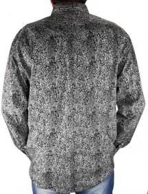 Camisa Masculina CINCH Importada Estampa Floral Preto Branco