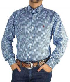 Camisa Masculina Exclusiva Austin Western Xadrez Manga Longa Slim Fit Azul Cinza Branco