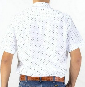 Camisa Masculina Fast Back Manga Curta Estampada Branco Azul