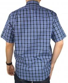Camisa Masculina Fast Back Manga Curta Xadrez Azul Preto