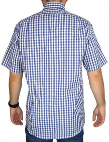 Camisa Masculina Fast Back Manga Curta Xadrez Branco Azul