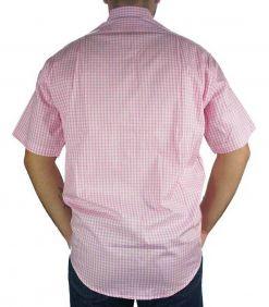 Camisa Masculina Fast Back Manga Curta Xadrez Rosa