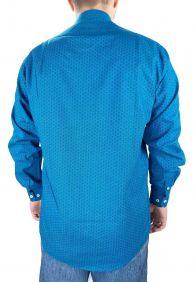 Camisa Masculina Fast Back Manga Longa Estampada Azul