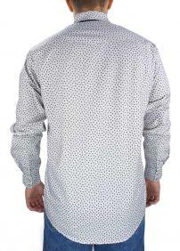 Camisa Masculina Fast Back Manga Longa Estampada Branco Cinza