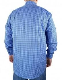 Camisa Masculina Fast Back Manga Longa Xadrez Azul