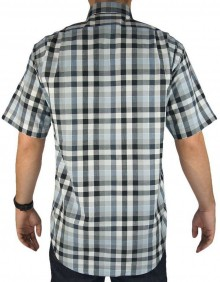 Camisa Masculina Fast Back Xadrez Grande Branco Cinza Azul