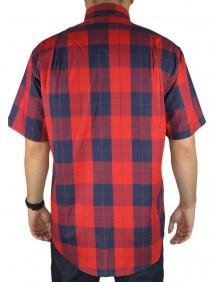 Camisa Masculina FastBack Manga Curta Xadrez Grande Vermelho
