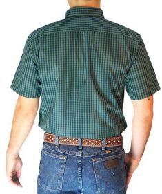 Camisa Masculina Slim Fit Austin Western Manga Curta Xadrez Verde Azul