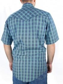 Camisa Wrangler Masculina Manga Curta Xadrez Azul Verde