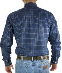 Camisa Xadrez Austin Western Masculina Exclusiva Manga Longa Slim Fit Azul Branco
