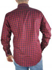 Camisa Xadrez Austin Western Masculina Exclusiva Manga Longa Slim Fit Vermelho Azul
